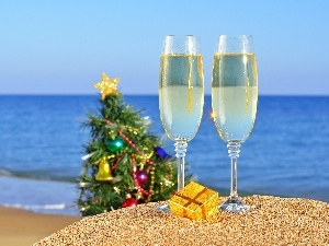 christmas tree, parcel, Beaches, glasses