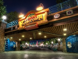 California, Neon, Disneyland, Street, USA, bridge