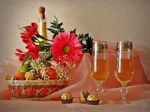 Champagne, Flowers, Candies, glasses