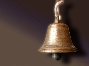 Golden, forged, copper, bell, manually