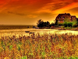 grass, house, sun, lake, west