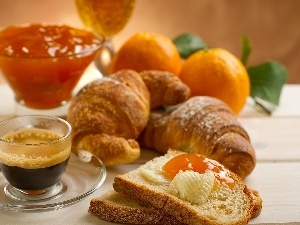 jelly, croissant, coffee, orange, bread