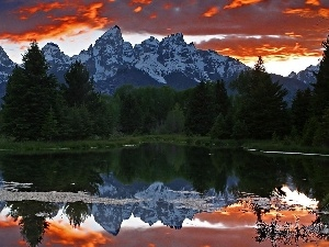 reflection, Mountains, lake