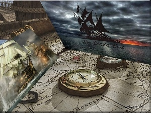 Map, pictures, Ship, compass