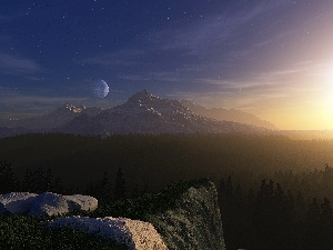 peaks, moon, Stones, Mountains