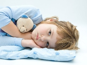 Pillow, girl, teddy bear