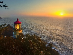 coast, sun, viewes, sea, west, trees, Lighthouse