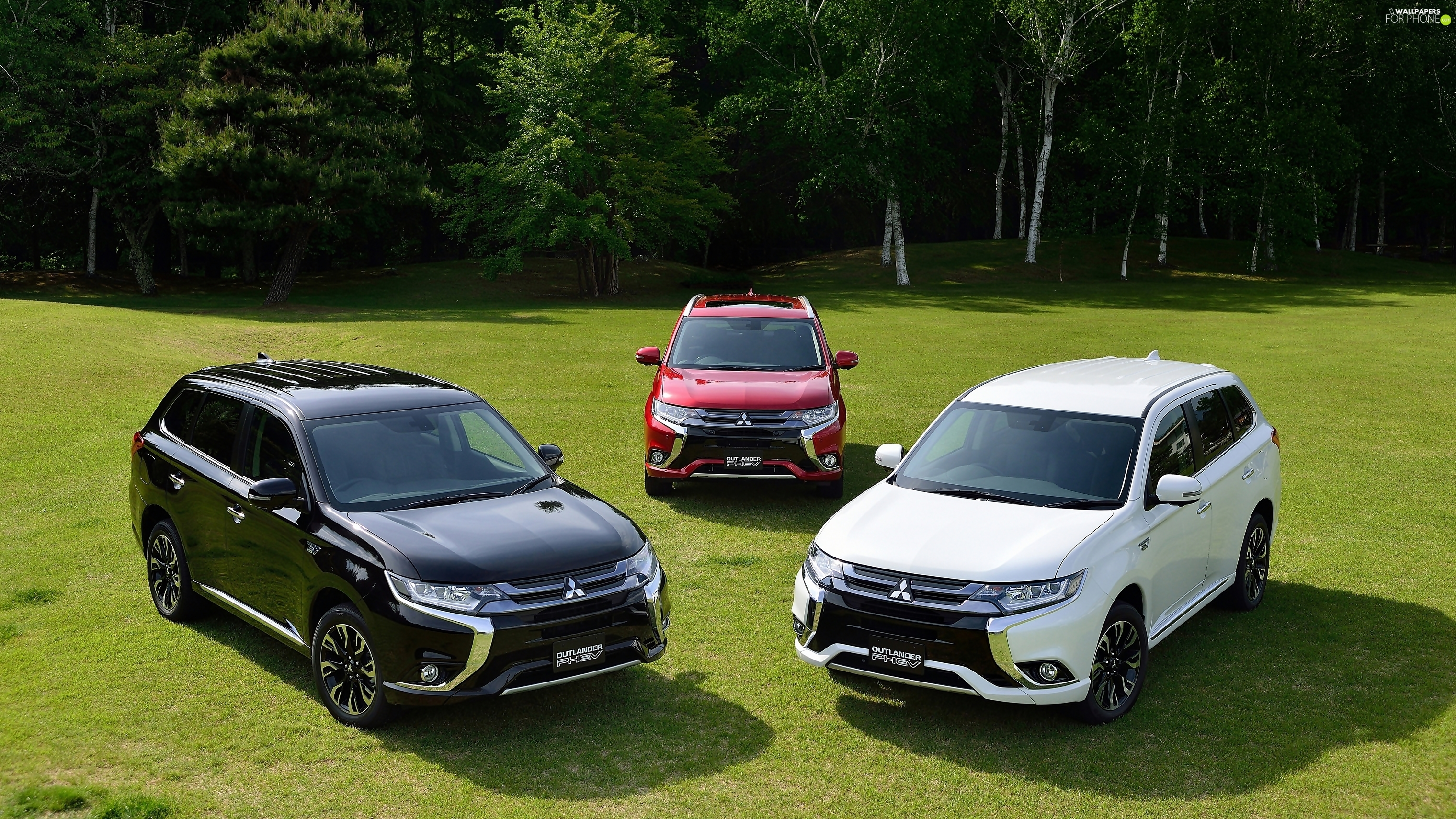 Meadow, forest, Mitsubishi Outlander PHEV, 2016, Three