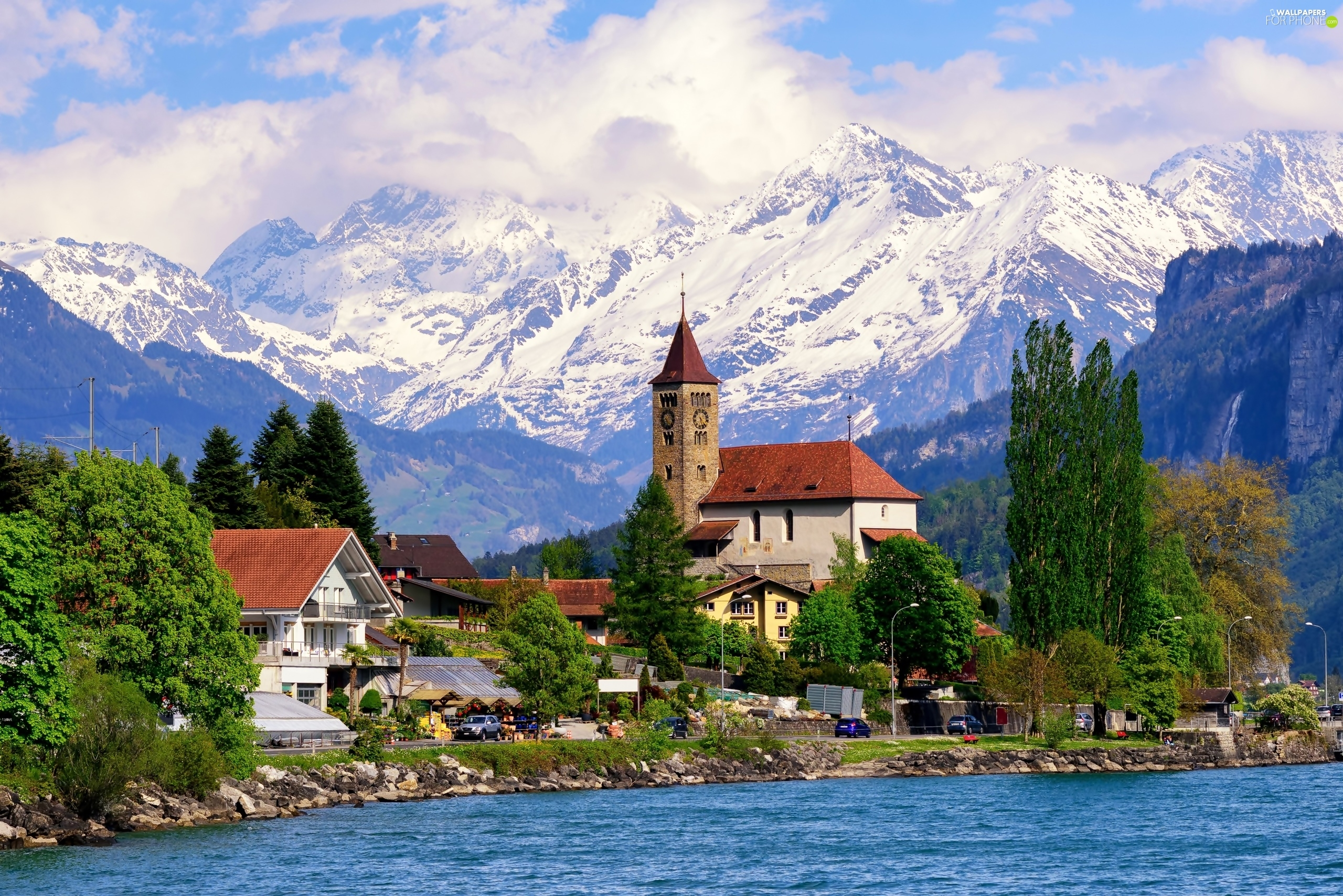 Lake Village Alps Switzerland Mountains Houses For
