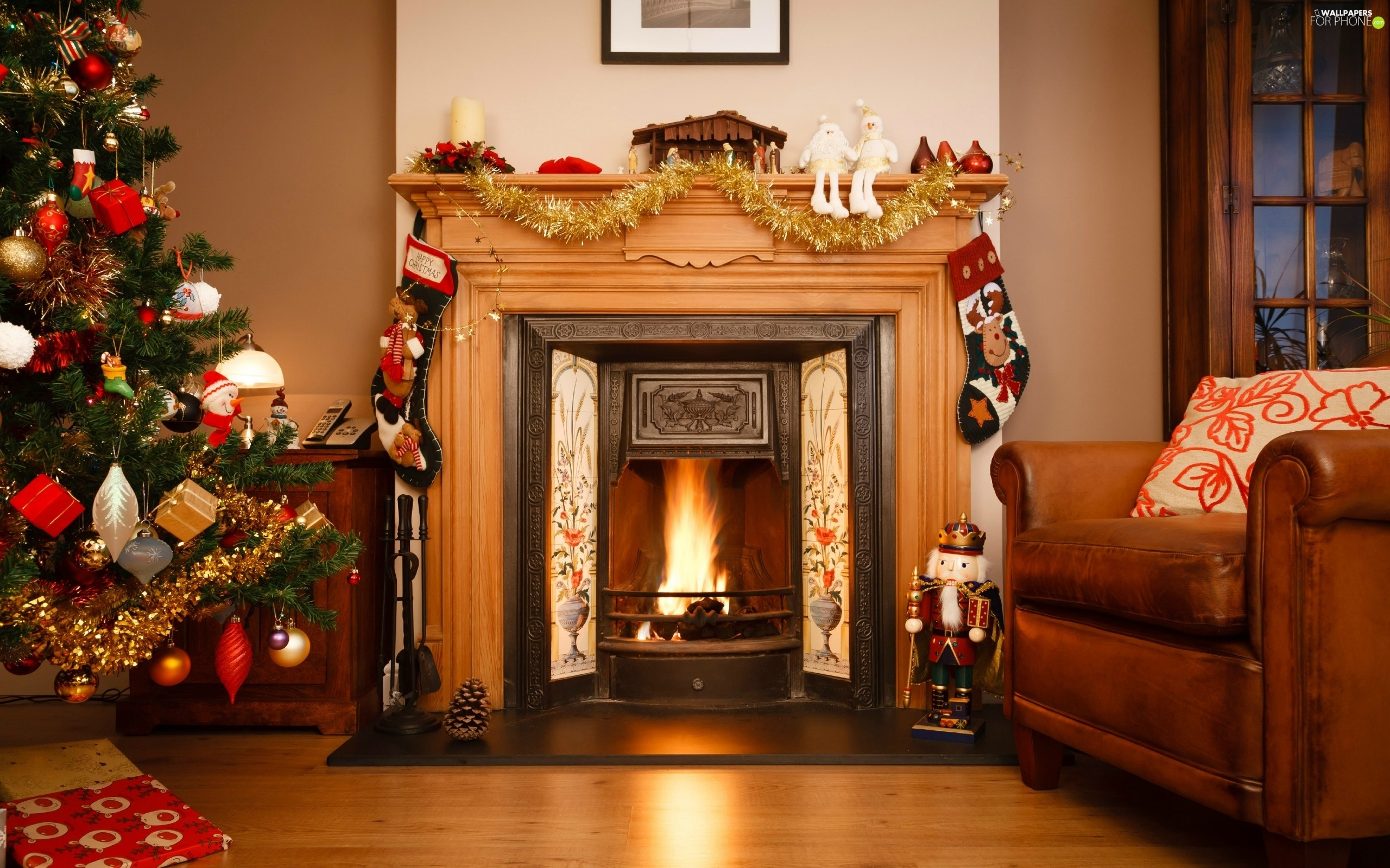 Christmas Room christmas, room, burner chimney, christmas tree - for phone
