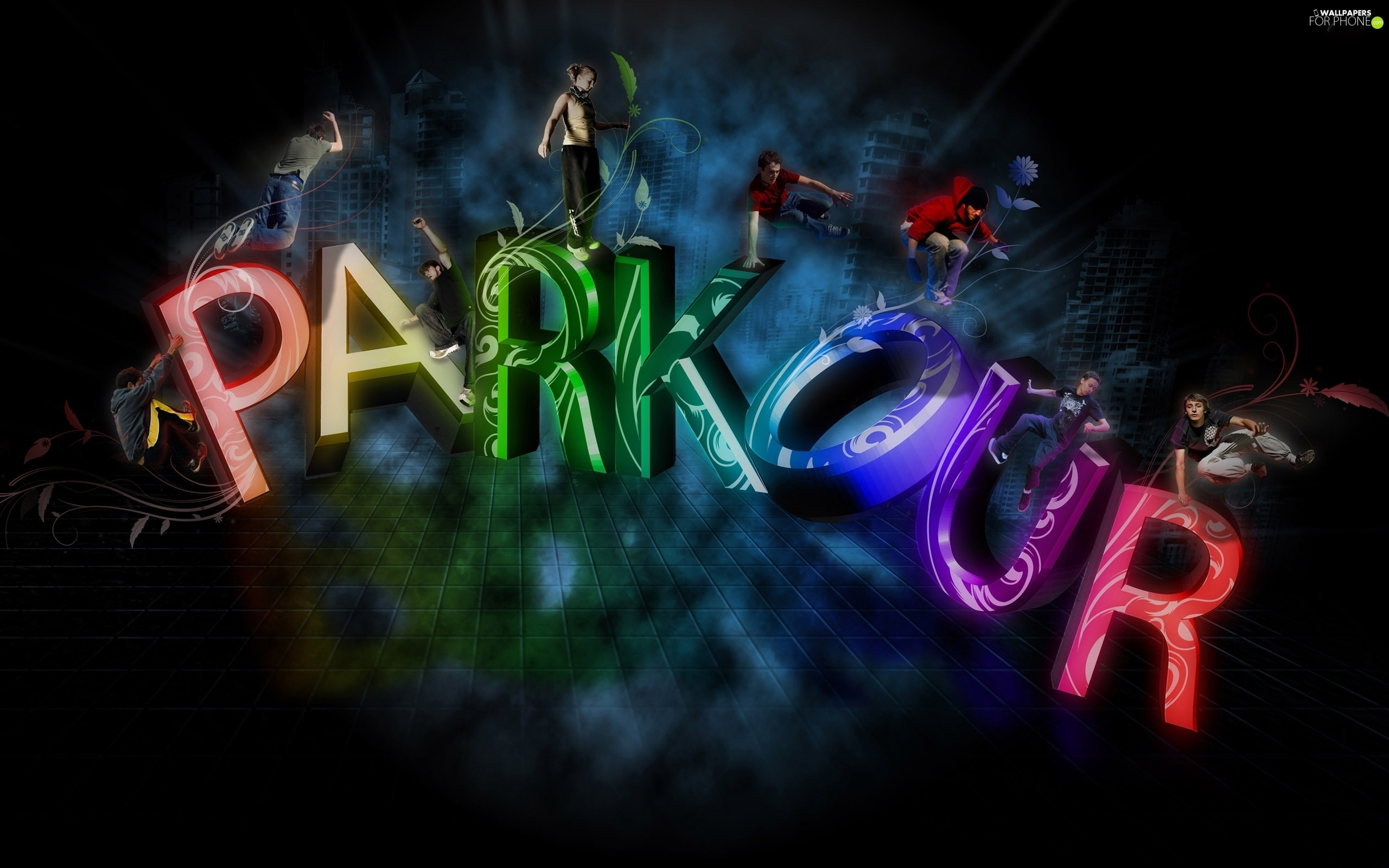 letters, People, graphics, parkour, 3D - For phone ...