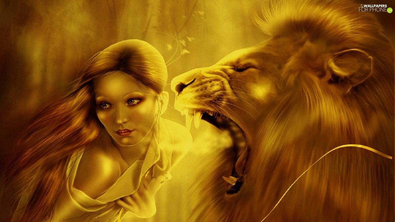 Roaring Lion Girl For Phone Wallpapers 1600x900