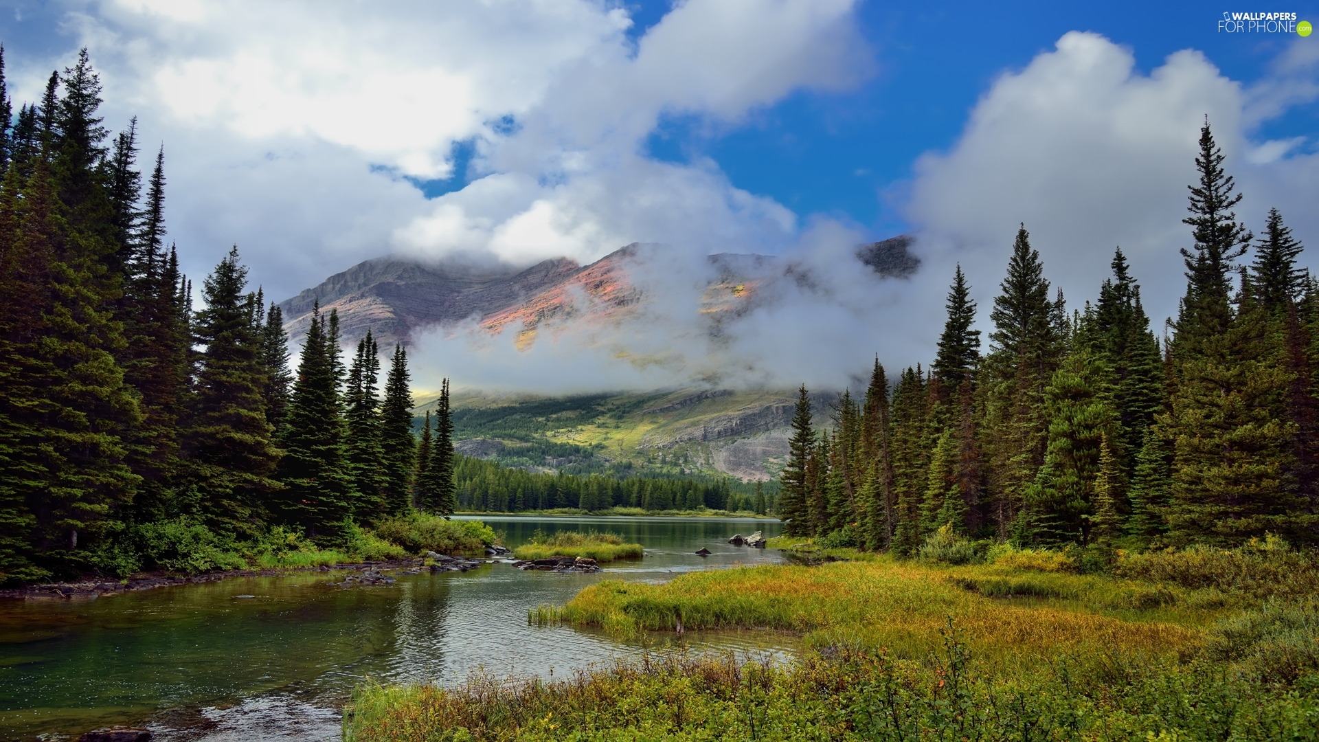 Glacier National Park, Mountains, clouds, River, viewes, Montana State, The United States, trees