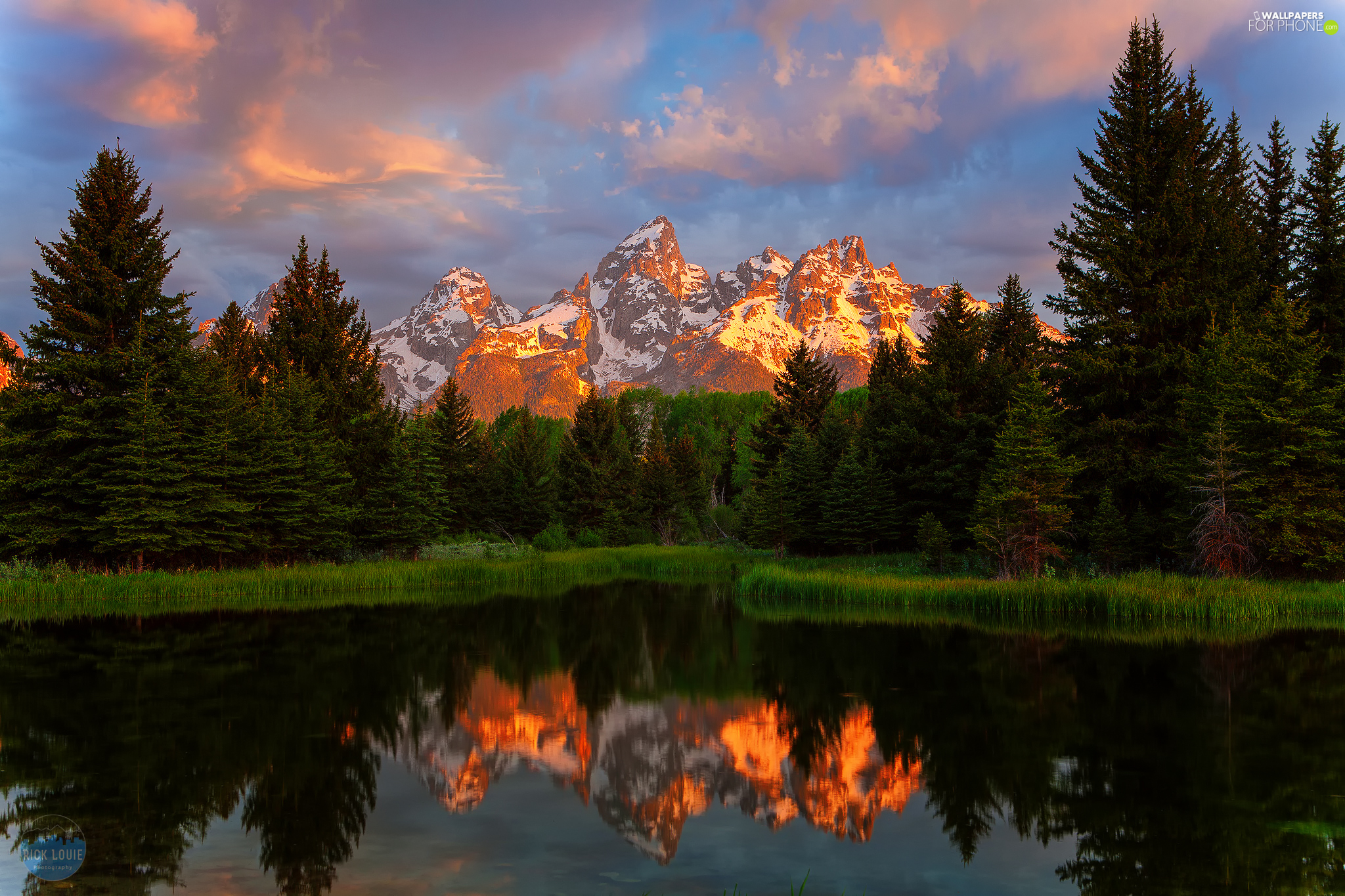 Snake River, Teton Range Mountains, reflection, viewes, trees, The United States, State of Wyoming, Great Sunsets, Grand Teton National Park