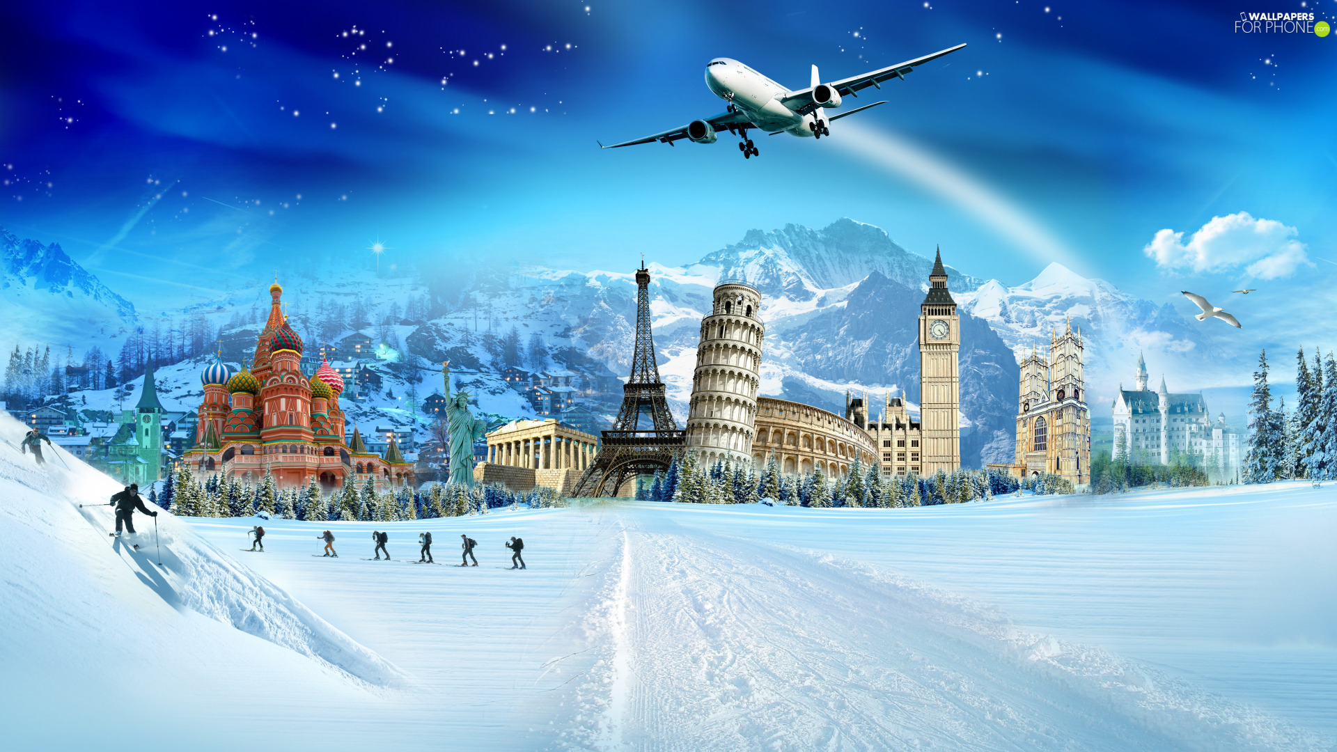 Skiers, Leaning Tower of Pisa, Eiffla Tower, Big Ben, structures, plane, fantasy, winter, Mountains, Sights