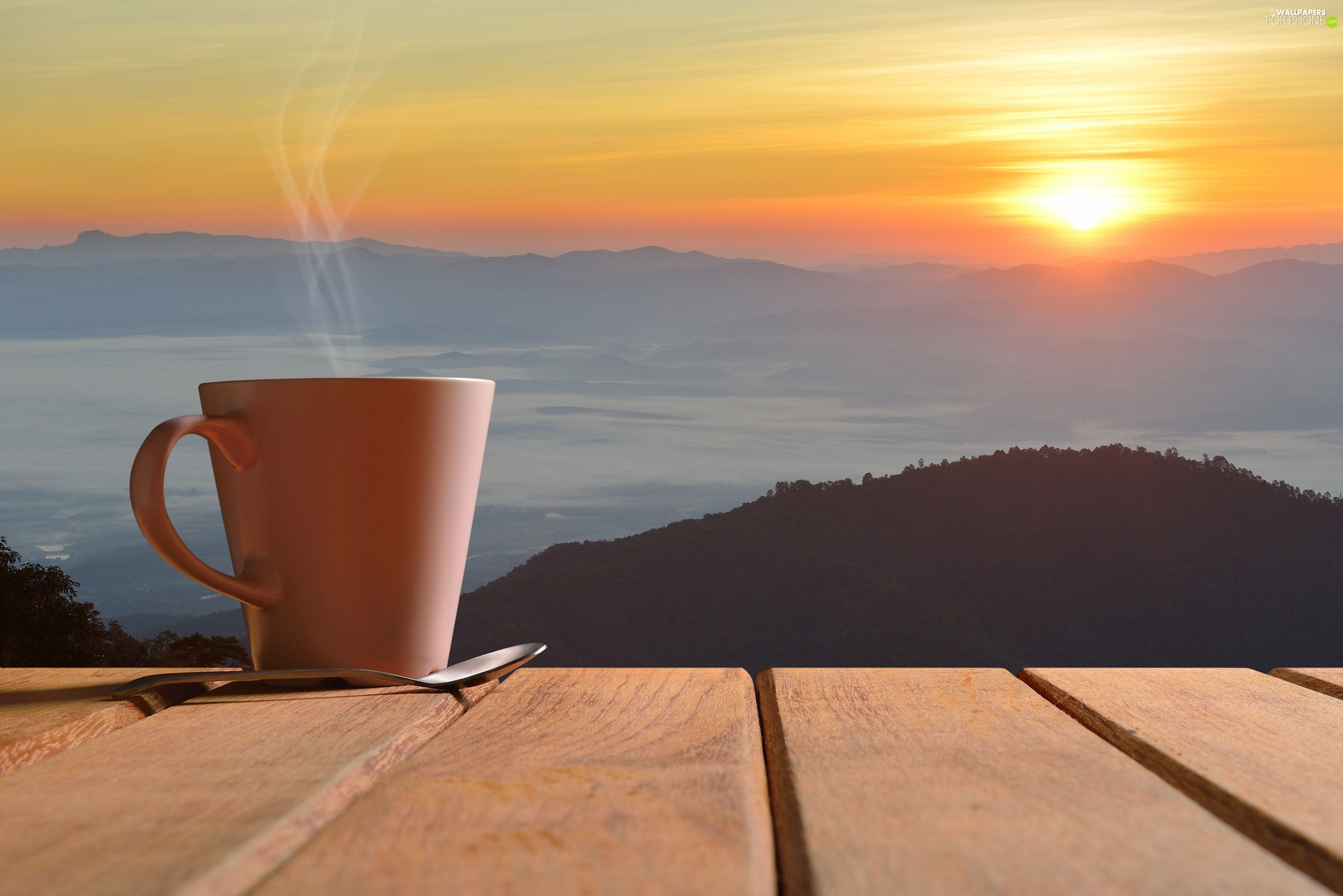 boarding, Steam, Mountains, teaspoon, Cup, landscape, Great Sunsets
