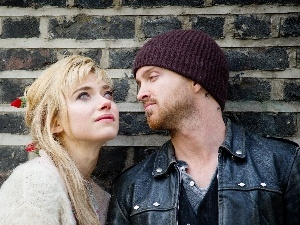 wall, brick, Aaron Paul, Actors, Imogen Poots
