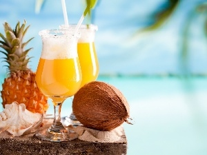 ananas, shell, drinks, Coconut, Two cars