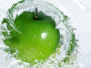 water, green ones, apple