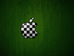 green ones, Checkered, Apple, background