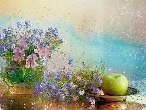Cosmos, composition, Apple, Rain, Forget, Flowers