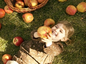 apples, girl, color