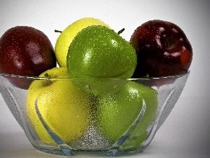 Glass, color, apples, bowl
