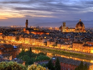 Italy, River, Arno, Florence