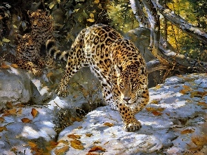 Art, Jaguar, viewes, snow, trees