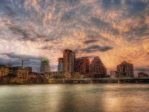 Austin, Teksas, clouds, Houses, River