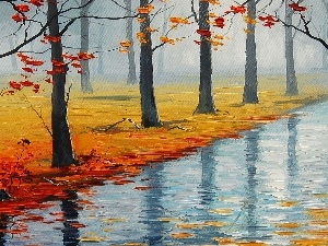 viewes, River, autumn, picture, Leaf, trees