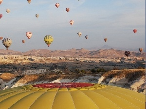 Mountains, Balloon, Balloons, flight