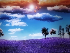 Violet, clouds, Balloons, Meadow