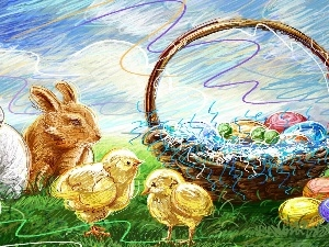basket, eggs, rabbits, chickens, Easter