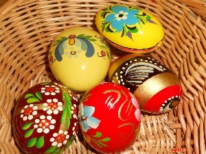 basket, paint, eggs