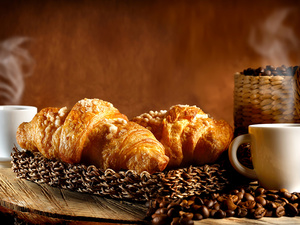 grains, coffee, Tray, cups, boarding, Croissant, croissants, basket
