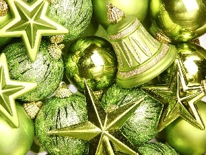 green ones, Christmas, baubles, ornamentation