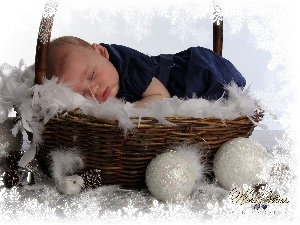 Sleeping, basket, baubles, Baby