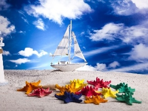 Beaches, Sky, maritime, starfish, Lighthouse, The ship