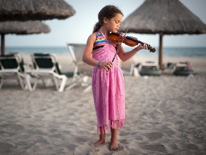 Beaches, girl, violin