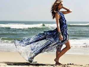 Women, sea, Beaches, Dress