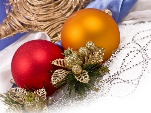 beads, leaves, Christmas, baubles, decoration