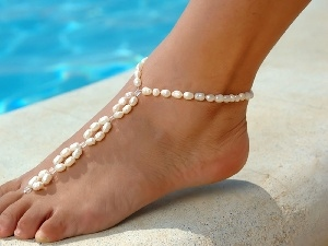 beads, foot, woman