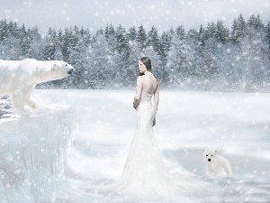 Women, White, bears, winter