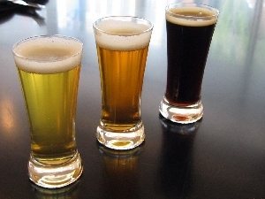 beer, Three, glasses