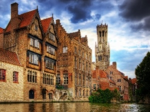 Houses, Bruges, Belgium, canal
