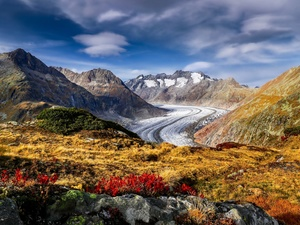 glacier, Aletschgletscher, Mountains, Bernese Alps, Switzerland