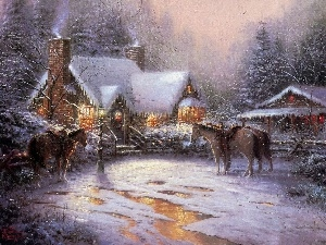 bloodstock, Thomas Kinkade, winter, manor-house, picture