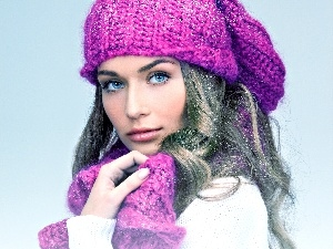 blue, Eyes, Hat, Scarf, Women