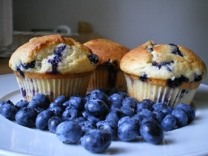 Muffins, blueberries